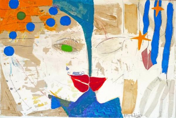 THE KISS mixed media on canvas. 120X90 cm. 2014